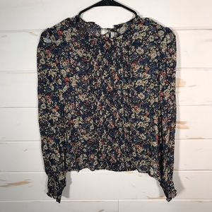 Zara woman pleated floral blouse